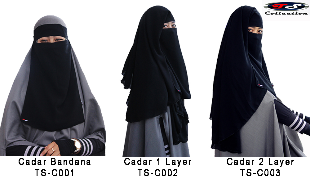 Cadar Niqob Purdah New Long Yaman Anti Singkap Tahan Badai 1 Layer TS-C002 All In One Sifon Silky Jetblack